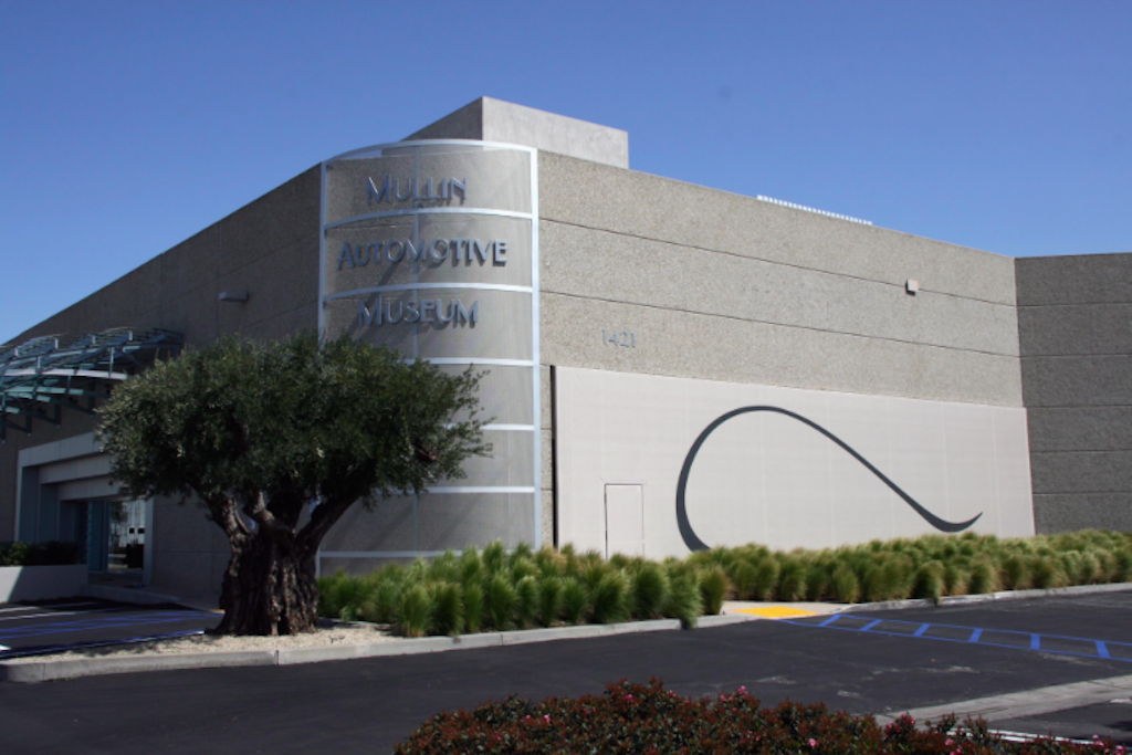 The exterior of the Mullen Automotive Museum
